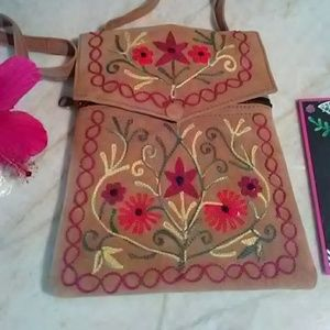 Leather Suede Embroidery Crossbody Small Purse Bag